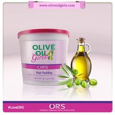 Olive Oil Girls™ Hair Pudding.  Perfect for styling pony tails, this light weight non-sticky pudding leaves a smooth and shiny hold while moisturising the hair. Available from www.hairgrade.com