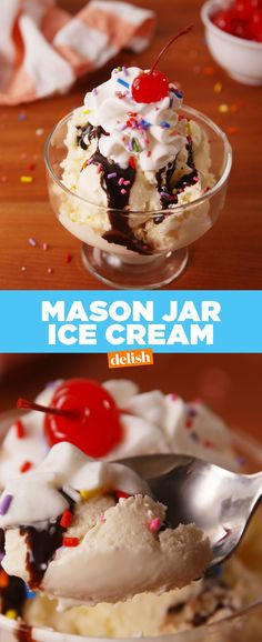 Mason Jar Ice Cream Mason Jar Ice Cream 1 c. pure vanilla extract pinch of salt DIRECTIONS Pour all ingredients into a mason jar and secure tightly with a lid. Shake the mason jar 4 to 5 minutes, until the cream thic Ice Cream Desserts, Köstliche Desserts, Frozen Desserts, Low Carb Desserts, Ice Cream Recipes, Frozen Treats, Delicious Desserts, Dessert Recipes, Mason Jar Ice Cream Recipe
