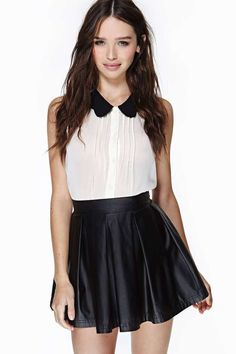 Nasty Gal Ultimate Rebel Skirt- sweet and edgy Cute Skirt Outfits, Cute Skirts, Pretty Outfits, Mini Skirts, Leather Skater Skirts, Black Leather Skirts, White Fashion, Girl Fashion, Fashion Outfits
