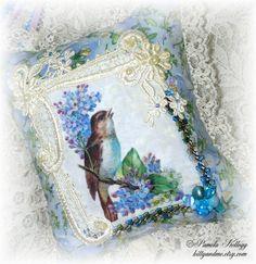 Hanging Pillow Spring Bird Decor Sparrow Lilacs Blue by Kittyandme, $19.95