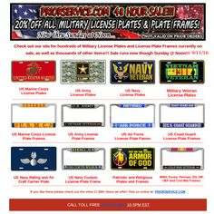 48 hour sale 20 off all license plates and frames check out our - Military License Plate Frames