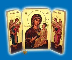Icon Triptych 14cm x 20cm With Gold Leaf Paper Holy Theotokos, Diptychs & Triptychs, www.Nioras.com - Byzantine Orthodox Art & Greek Traditional Products - Byzantine Christian Icons, Mount Athos Incense, Orthodox Church Supplies, Wedding Gifts, Bookstore Supplies