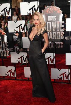 Recording artist Rita Ora attends the 2014 MTV Movie Awards at Nokia Theatre L.A. Live on April 13, 2014 in Los Angeles, California.