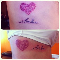 Each others thumbprints made their hearts.  Soon to be married couple, celebrating their love #tattoo