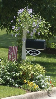 Mailbox Landscaping   ... CHRISTIAN MAILBOX ADDRESS PLAQUE - HOUSE NUMBERS - GARDEN YARD SIGN