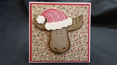 Stampin' Up Hat builder punch, Candy Cane Lane DSP, Christmas, Real Red, Crumb Cake, Moose,