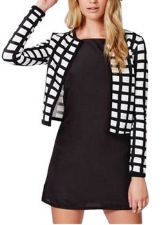 7b17460147 Spring autumn new white black check women jacket cardigan