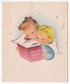 Vintage Greeting CardChristmas Carols Cute Angel Norcross Mid-Century 1950s