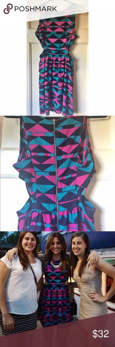 Cut-out geometric cocktail dress Adorable cut out dress worn once! Perfect condition and super cute pattern. Zipper back. Not lined. one clothing Dresses