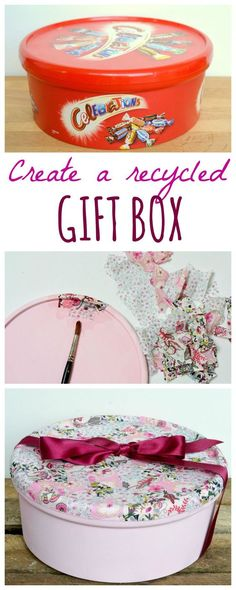 Recycle sweet tins into gorgeous boxes, perfect as DIY gift wrap this Christmas or as beautiful recycled storage. Click through for DIY step by step tutorial.