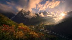 Sun Valley - The incredible uniqueness of Tibet's Kharta Valley is that it may be the only place on Earth where you can find the colors of Autumn near the base of 8000m high peaks, like the Makalu massif in the background here. Photography by Marc Adamus