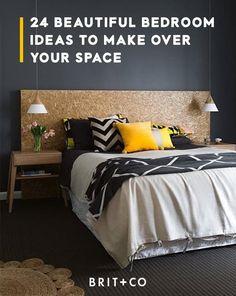 Une chambre scandinave et arty en blanc gris et jaune moutarde ...