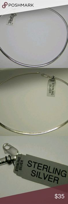 "Herringbone Omega 4mm/ 23.2 grams Sterling Silver new with tag made in Italy by SU Company 18"" length Herringbone Omega necklace.It is 4mm width.The necklace weighs 23.2 grams.Retail value is $110.00 plus tax No trades or try ons Italy Jewelry Necklaces"
