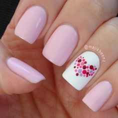 Super simple tuto ~ 1) Paint all nails pink, except the ring finger, paint that white. 2) Use dotting tools to add a variety of different sized dots in coordinating colors. 3) Add top coat