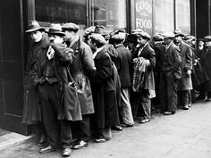 The Great Depression  In the picture, there is lots of people line up in front of the store and wait for the food and goods.