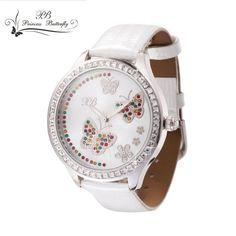 2016 Luxury Ladies Watch Brand Princess Butterfly Sapphire Glass Leather Strap Waterproof Quartz Watch montre marque luxe femme