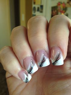 Black, white & silver French manicure
