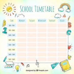 Discover thousands of copyright-free vectors. Graphic resources for personal and commercial use. Thousands of new files uploaded daily. Kids Planner, Daily Planner Printable, Study Planner, Planner Template, Blog Planner, Timetable Planner, School Timetable, Class Schedule Template, Timetable Template
