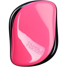 Tangle Teezer Compact Styler Pink Sizzle Hairbrush (206.200 IDR) ❤ liked on Polyvore featuring beauty products, haircare, hair styling tools, brushes & combs, pink, hair detangler brush, detangler brush, detangling brush, shine brush and detangling hair brush