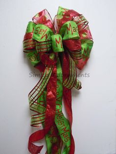 CIJ Red Lime Green Christmas Decorative Tree Bow by SimplyAdornmentsss,