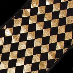 Black and Gold harlequin fabric | 34-10-1948 - Harlequin Diamond Ribbon - 4 inch - Black , Gold