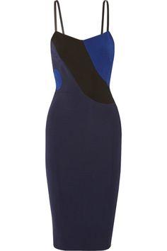 Victoria Beckham  Leather-trimmed stretch-ponte dress