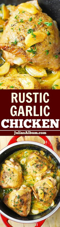 Rustic Garlic Thyme Chicken Thighs with a flavorful gravy - easy, 30-minute dish! #ad #sponsored