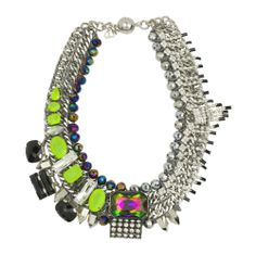 Collar necklace with resin and Swarovski gems, glass beads, and rhinestone fringe. Handmade in NYC by Amanda Assad of Assad Mounser. Crawford collar, neon yellow