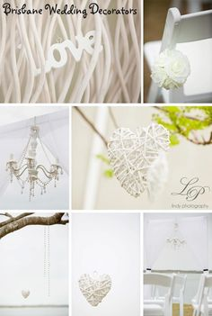 Elegant wedding with gorgeous ceremony details like tree hanging hearts, rose petal aisle and modern white arch with chiffon drapes to perfectly frame the bride and groom xox www.brisbaneweddingdecorators.com.au