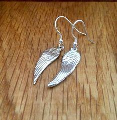 Silver Angel Wing Drop Earrings - Handmade silver jewellery by Michelle Giles Jewellery