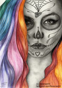 Sugar skull/day of the dead Day Of The Dead Drawing, Day Of The Dead Girl, Day Of The Dead Skull, Sugar Skull Mädchen, Sugar Skull Tattoos, Skull Girl Tattoo, Totenkopf Tattoos, Candy Skulls, Airbrush Art