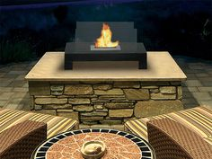 110. Indoor/Outdoor Floor Standing Ethanol Fireplace [amazon]  High-style, Contemporary Stainless Steel Bio-fuel Wall Mount Fireplace Ventless, needs no chimney, no gas or electrical hook-up Mounts on virtually any wall surface Burns bio-ethanol liquid fuel up to 5 hours per liter Burns smokeless, odorless, non-toxic, non-polluting, no soot or ash to clean up