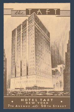 Postcards - United States #  934 - Hotel Taft, New York, New York
