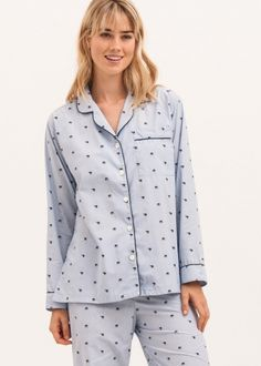2811983f5f Ladies Blue Cotton Pyjamas with Elephant Detail. For every pair of