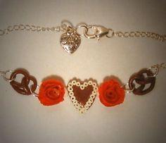 Verrückte Ohrringe und Schmuck Welt  - Halskette Lebkuchenherz mit Rose und Brezel handgefertigt Neuware