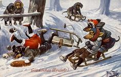 Vintage doxie postcard - dachshunds on sleds.  Illustration by Arthur Thiele.