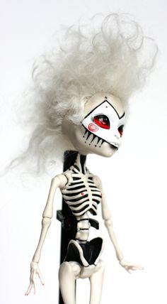 Custom Repaint and Reroot Monster High Skelita Calaveras. $150.00, via Etsy.