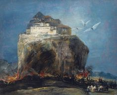 Style of Goya, A City on a Rock,19th century