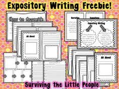 Expository Writing Freebie, includes anchor charts, draft book, teacher draft book, and brainstorming pages