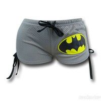 100% Polyester Drawstring closure Officially licensed DC Comics Batman Logo Mesh Juniors Booty Short