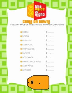 Free Printable Price Is Right Baby Shower Game Baby Shower Ideas