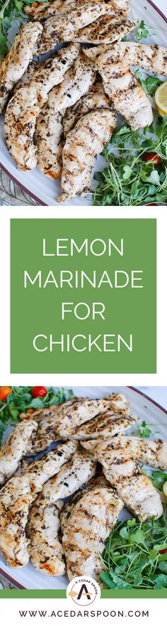 This Lemon Marinade for Chicken is my go-to quick and easy marinade for chicken. You can use this for grilling or baking the chicken. It adds a nice light zingy flavor to the chicken that your family will love. We especially like adding this chicken to salads! // acedarspoon.com #chicken #grilling #grilledchicken #dinner Chicken Marinades, Lemon