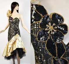 Origami Puff Salsa Vintage 80s 90s Gold Metallic Sequin Party Prom Dress S  kaboodle.com