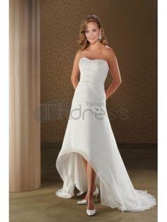 Abiti da Sposa Corti-Abiti da sposa corti senza spalline in tulle overskirt