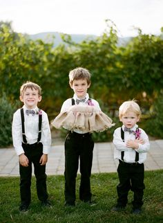 adorable wedding portrait of three ring bearers---this is what Caleb, Connor and Elliot could look somewhat like :D