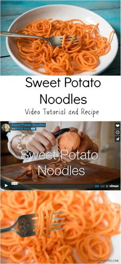 Sweet Potato Noodles recipe and video tutorial by Thriving On Paleo. A Paleo, gluten-free, vegetarian, and vegan side dish.