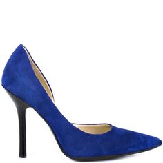 Peek at these classic stiletto pumps from Guess. A soft medium blue suede upper comes equipped with a sleek pointed toe, stacked 4 inch heel, and a stunning D'orsay design that will knock his socks off!