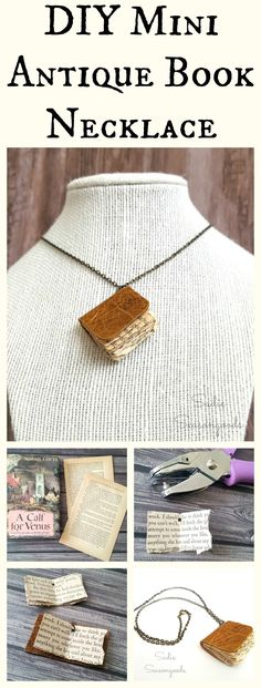 For the bibliophile (or yourself) this is quite possibly one of the cutest upcycled book projects EVER. Create your own miniature leatherbound book necklace by repurposing the pages of an old book! Such a fun craft project and who doesn't love making their own jewelry? Adorable- and would make a great gift, as well. Fun repurpose project from Sadie Seasongoods / www.sadieseasongoods.com