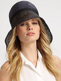 Lika Crochet Accented Asymmetrical Brim Straw Hat
