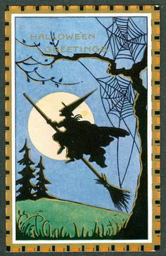 Hedge Riders: Vintage Whitney Halloween Postcard Silhouette of a Witch Flying on a Broom. Retro Halloween, Vintage Halloween Cards, Fröhliches Halloween, Halloween Prints, Halloween Pictures, Holidays Halloween, Halloween Decorations, Halloween Costumes, Halloween Clothes